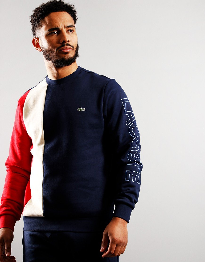 Lacoste Lettered Colourblock Sweat Navy