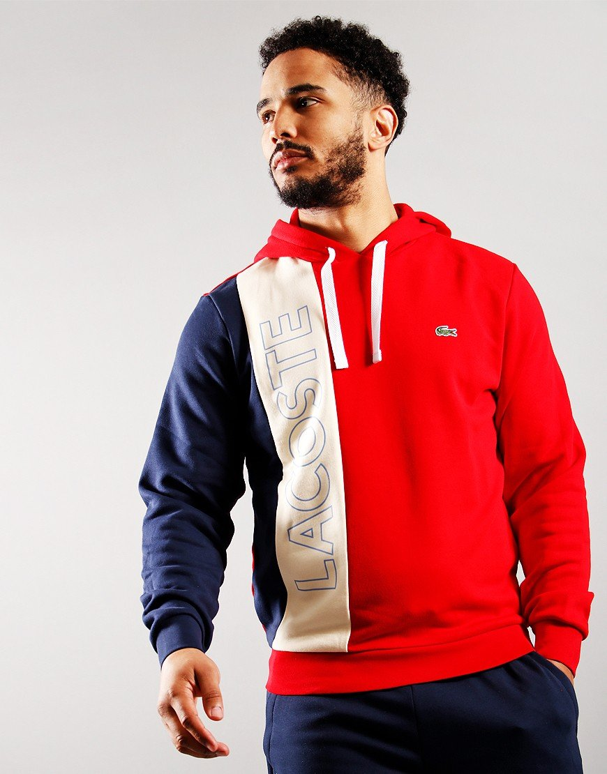 Lacoste Hooded Lettered Colourblock Sweat Red/Naturel