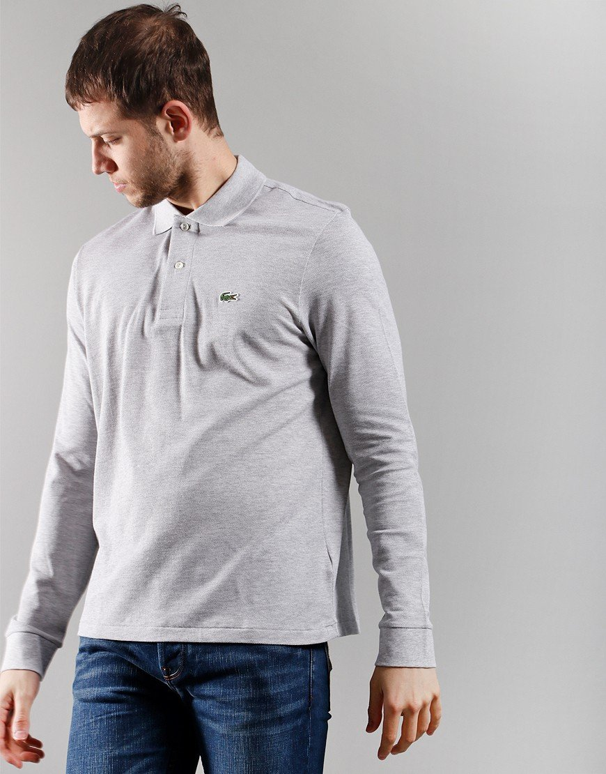 Lacoste Long Sleeve Best Polo Shirt Silver