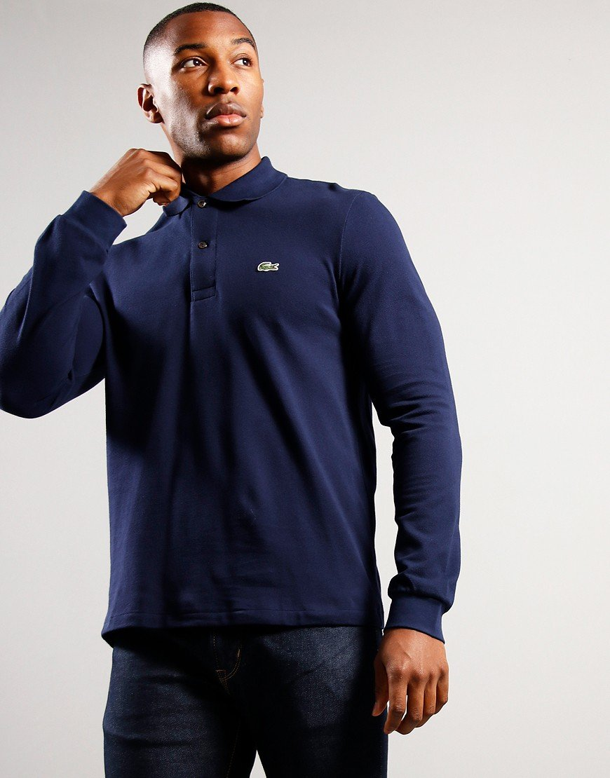 Lacoste Long Sleeve L1212 Polo Shirt Navy