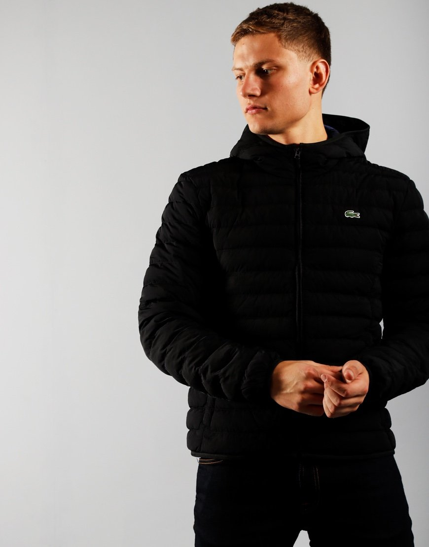 Lacoste Light Weight Hooded Puffer Jacket Black