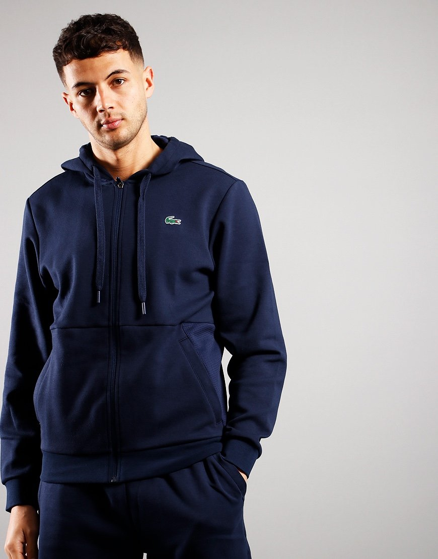 Lacoste Hooded Mesh Panel Sweatshirt Navy