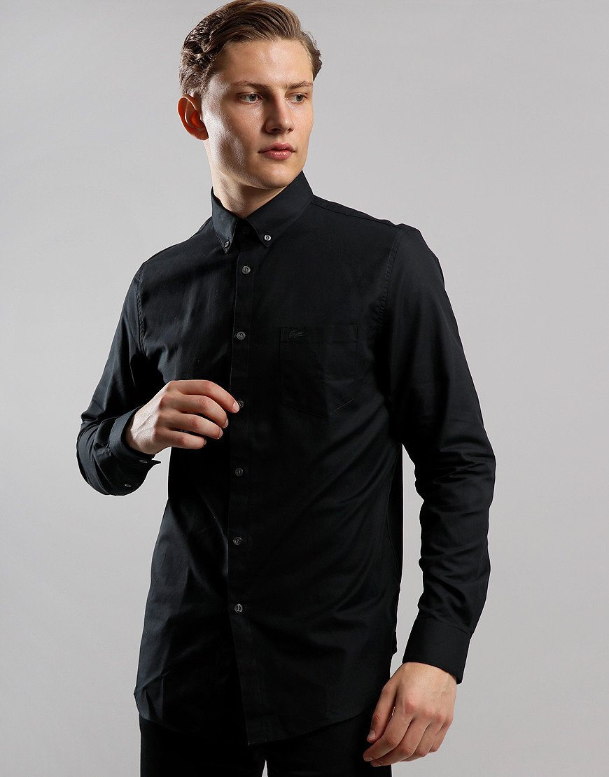 Lacoste Mini Pique Long Sleeve Shirt Black