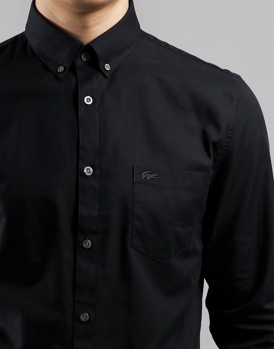 Lacoste Mini Pique Long Sleeve Shirt Black