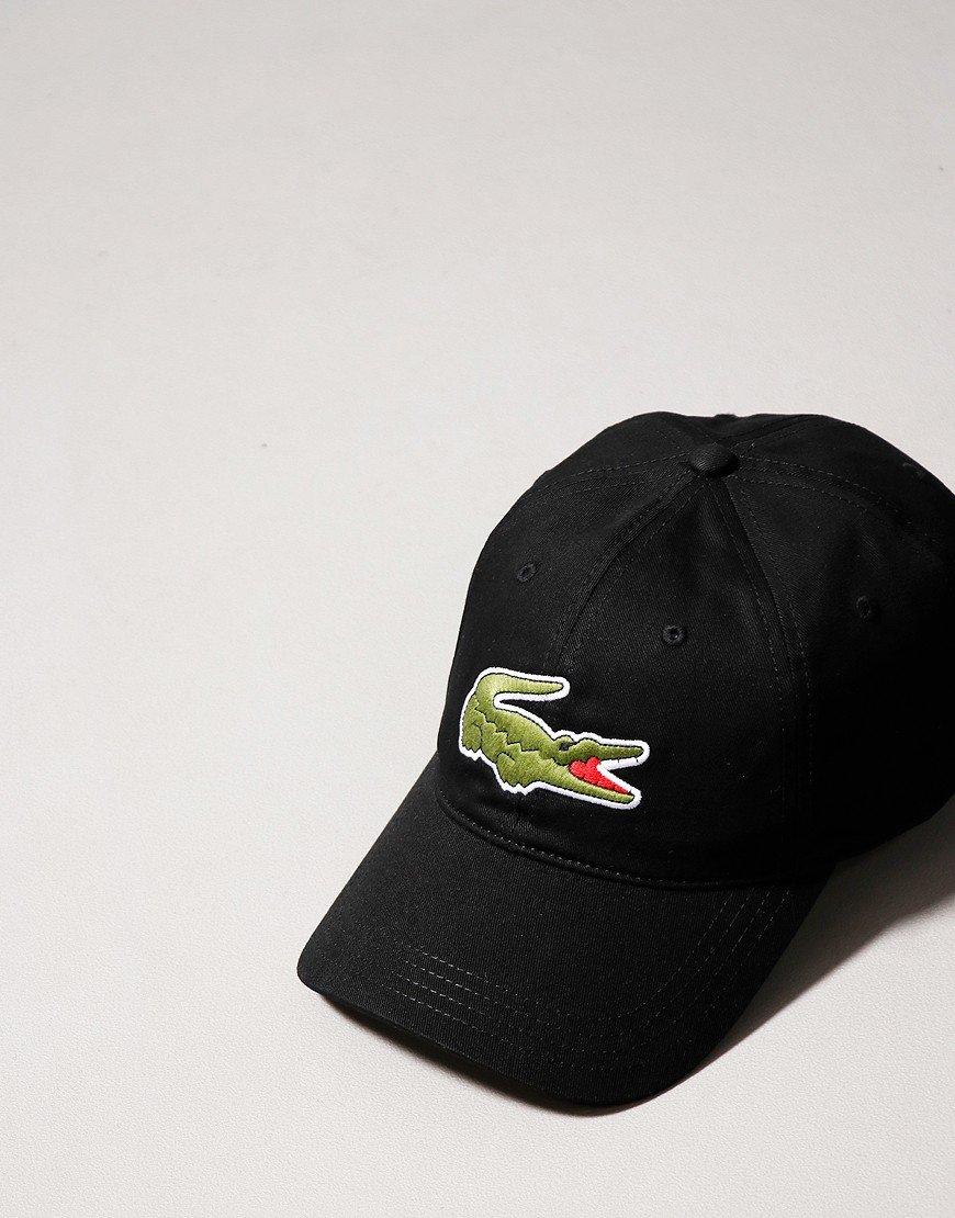 Lacoste Oversized Crocodile Cotton Cap Black