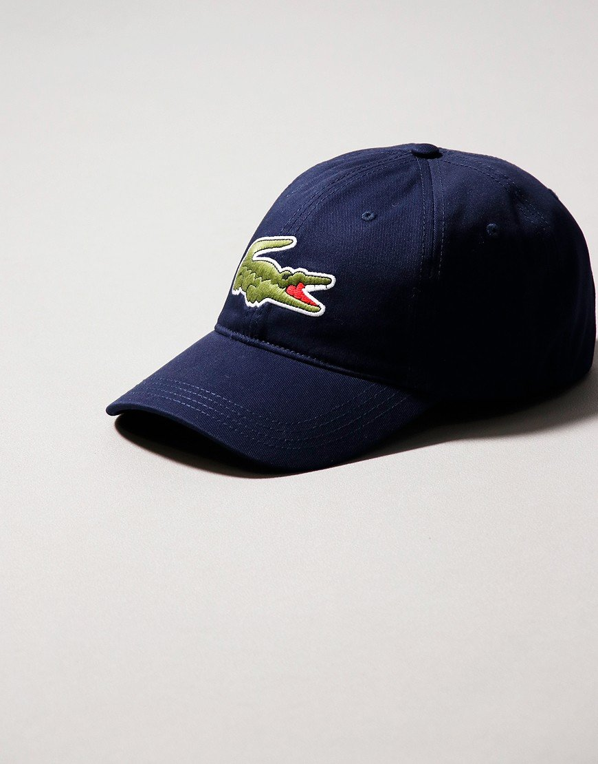 Lacoste Oversized Crocodile Cotton Cap Navy