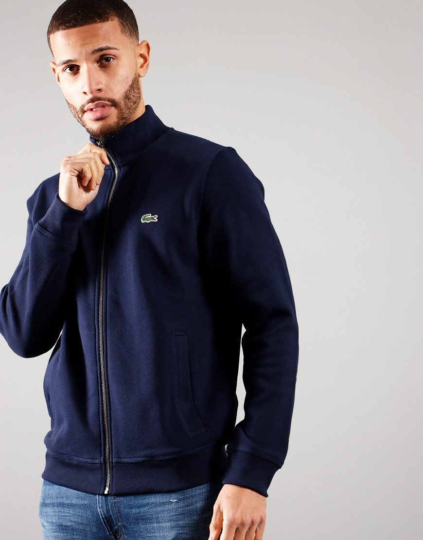 Lacoste Funnel Neck Piqué Zip Sweat Navy