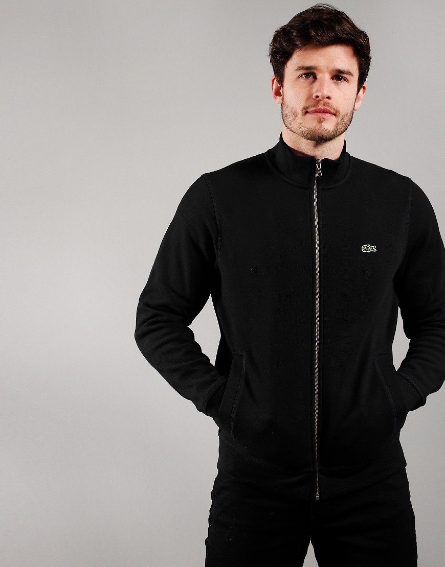 Lacoste Funnel Neck Piqué Zip Sweat Black
