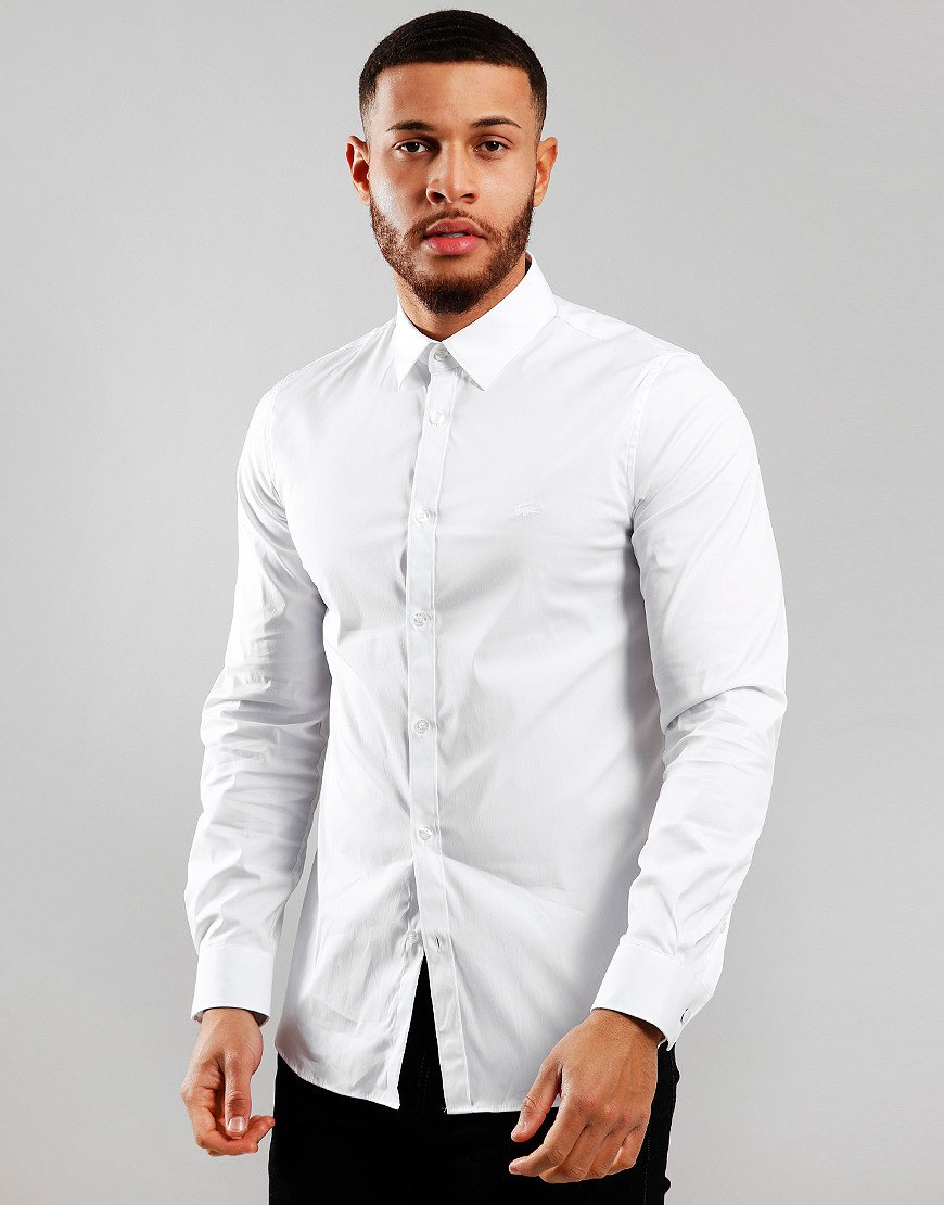 Lacoste Poplin Long Sleeve Shirt White