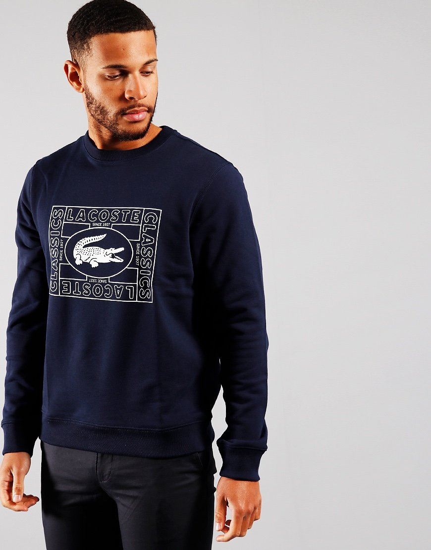 Lacoste Print Crew Sweat Navy Blue