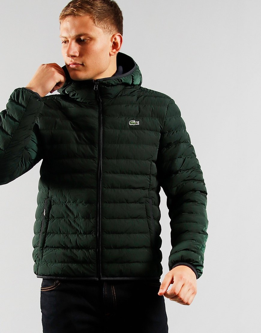 Lacoste Light Weight Hooded Puffer Jacket Sinople