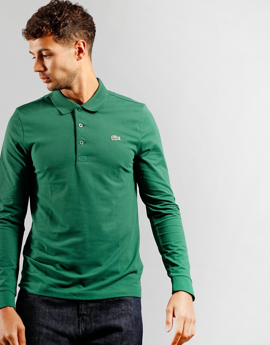 Lacoste Sport Long Sleeve Cotton Blend Polo Green