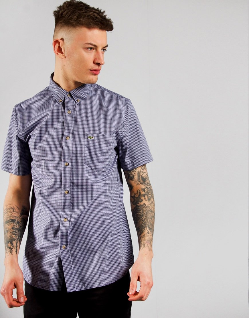 Lacoste Check Shirt Dark Navy/Purpy