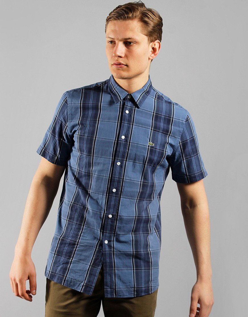 Lacoste Check Shirt Navy Blue/Purple/Phoenix