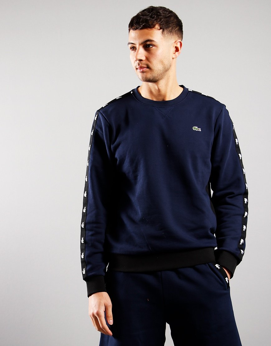Lacoste Crew Neck Colourblock Fleece Sweat Navy