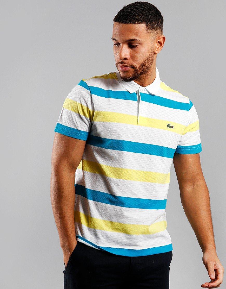 Lacoste Tri Colour Polo Shirt White/Lemon/Corr