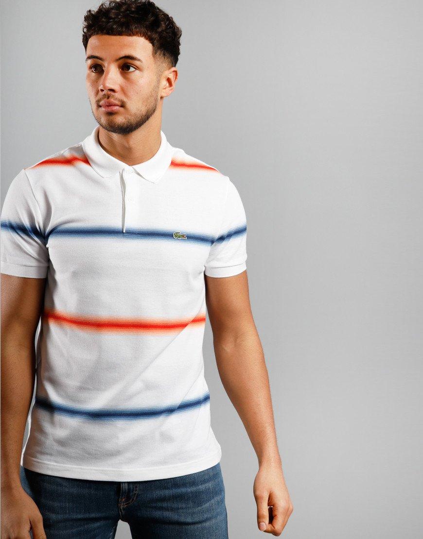 Lacoste Wide Stripe Polo Shirt White/Meth/Corr
