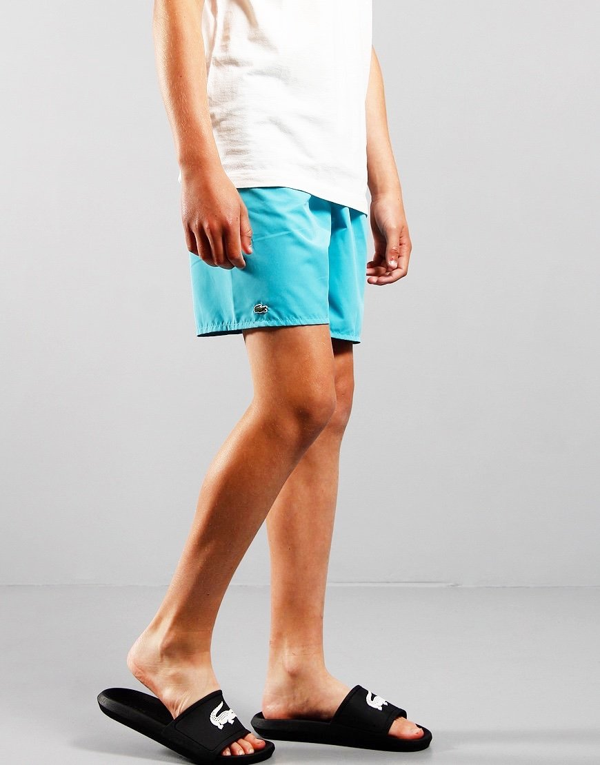 Lacoste Kids Plain Swim Shorts Cicer/Niagara Blue