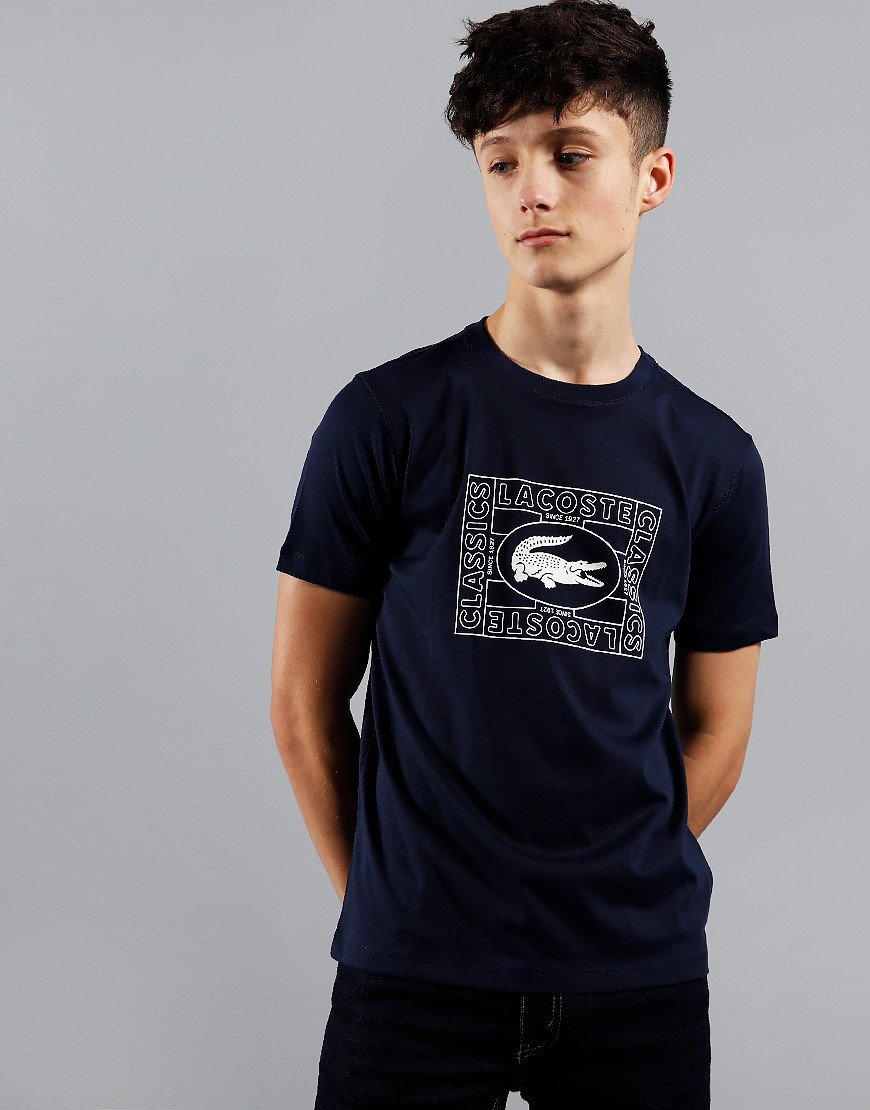 Lacoste Kids Box Logo Print T-Shirt Navy Blue