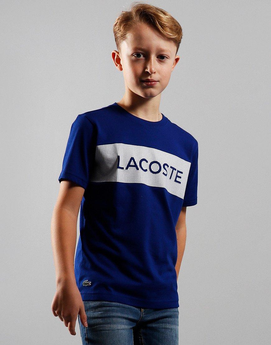 Lacoste Kids Chest Block T-Shirt Cosmic/White
