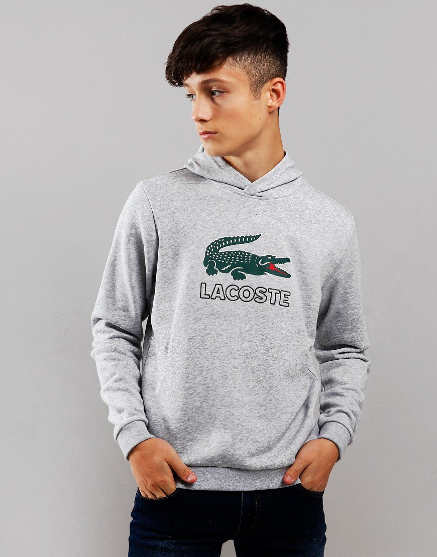 Lacoste Kids Logo Hoodie Silver Chine