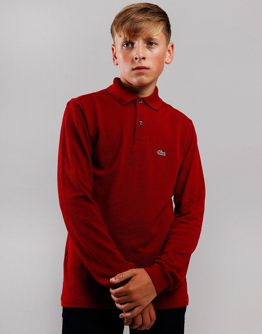 Lacoste Kids Long Sleeve Plain Polo Shirt Bordeaux