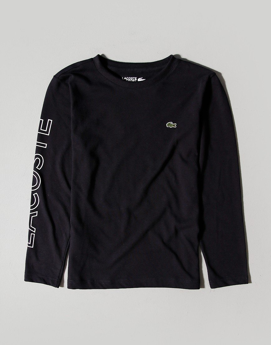 Lacoste Kids Long Sleeve Arm Logo T-Shirt Abysm/White