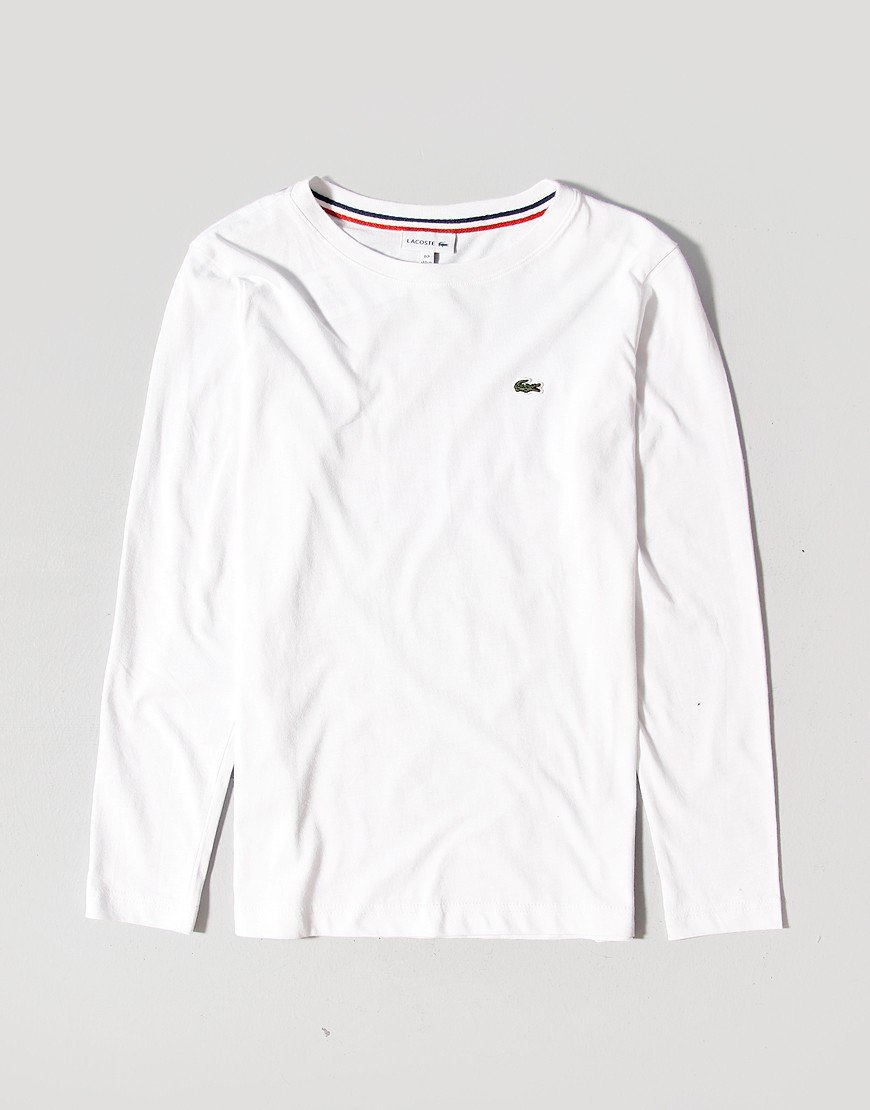 Lacoste Kids Long Sleeve Plain T-Shirt White