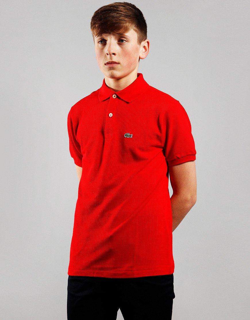 Lacoste Kids Plain Polo Shirt Red
