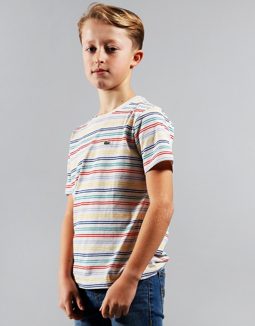 Lacoste Stripe T-Shirt Alpes Grey/Multi