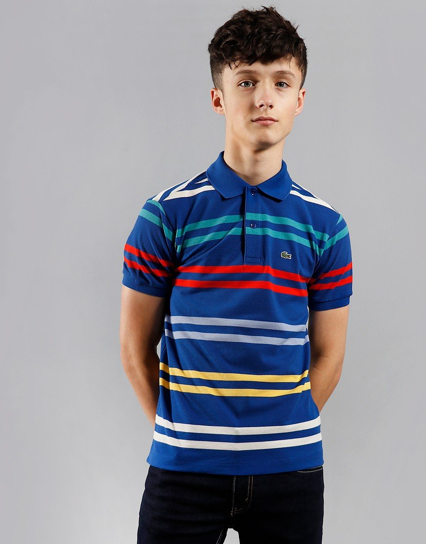 Lacoste Kids Striped Polo Shirt Ionian/Multi