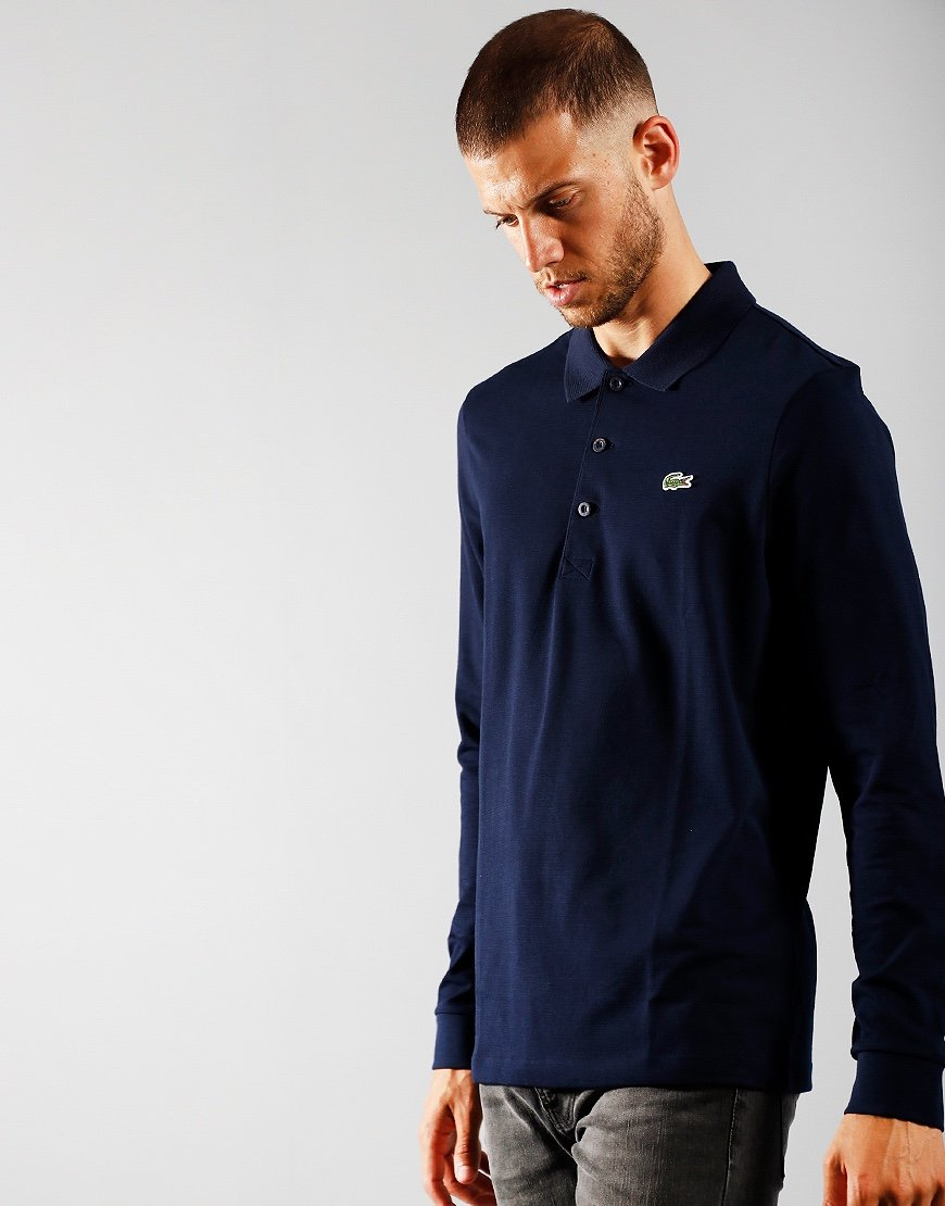 Lacoste SPORT Long Sleeve Cotton Blend Polo Shirt Navy
