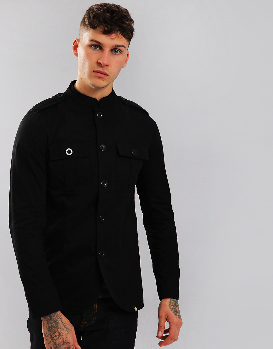 Pretty Green Langford Military Lennon Jacket Black