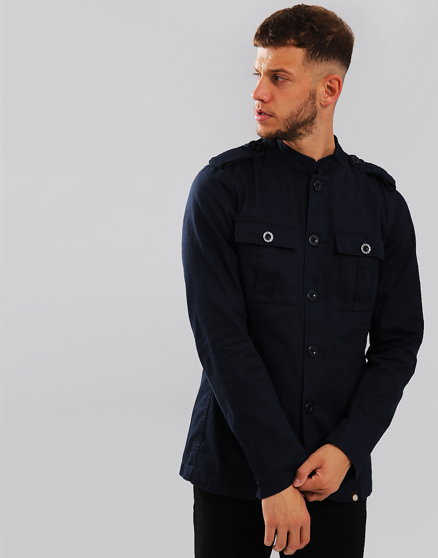 Pretty Green Langford Military Lennon Jacket Navy