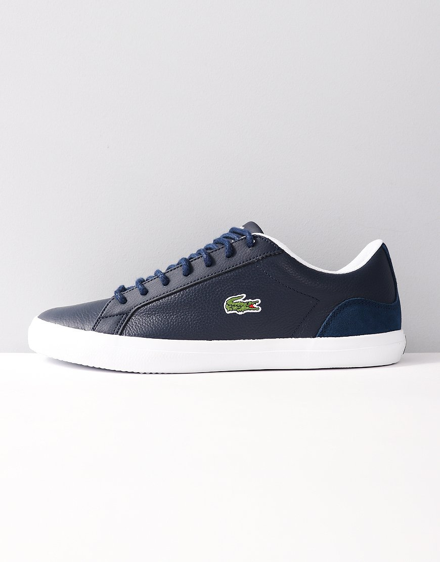 Lacoste Lerond Leather and Suede Trainers Navy/White