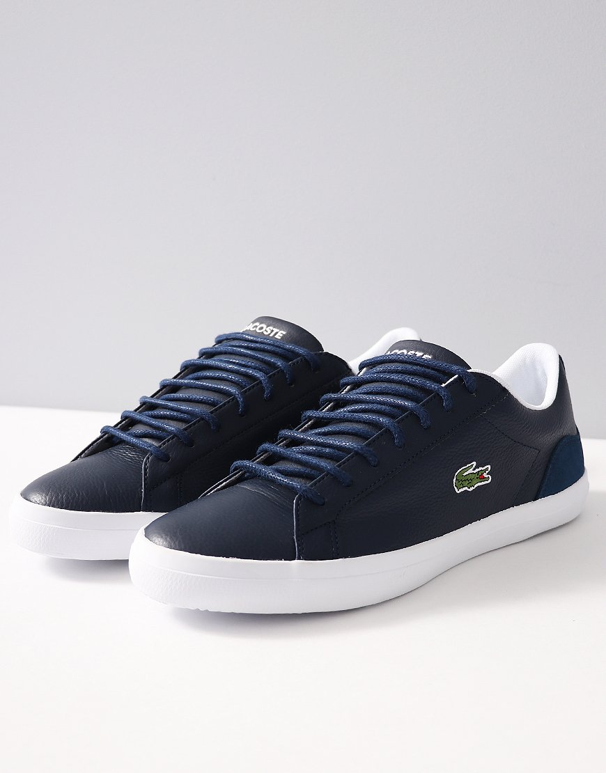 448fcedd4e2d Lacoste Lerond Leather and Suede Trainers Navy White - Terraces Menswear