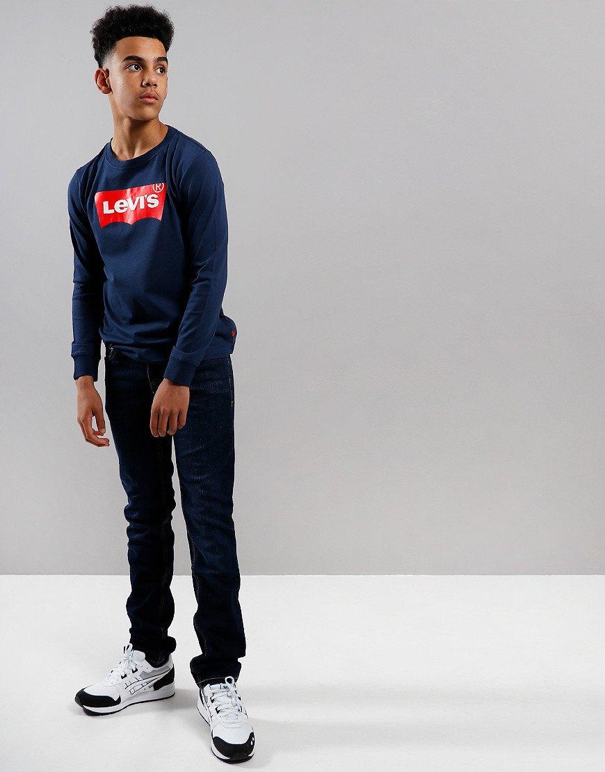 Levi's Kids Long Sleeve Logo Print T-Shirt Dress Blues