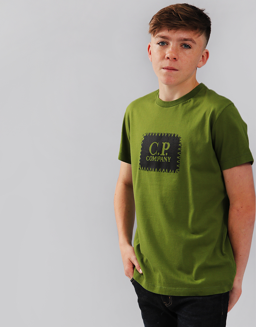 C.P. Company Kids Label Print T-Shirt Pesto