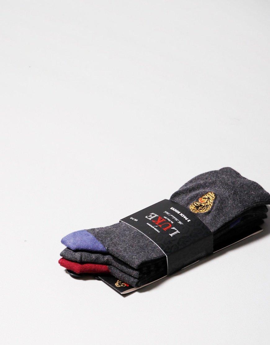 Luke 1977 James 3 Pack Socks Charcoal