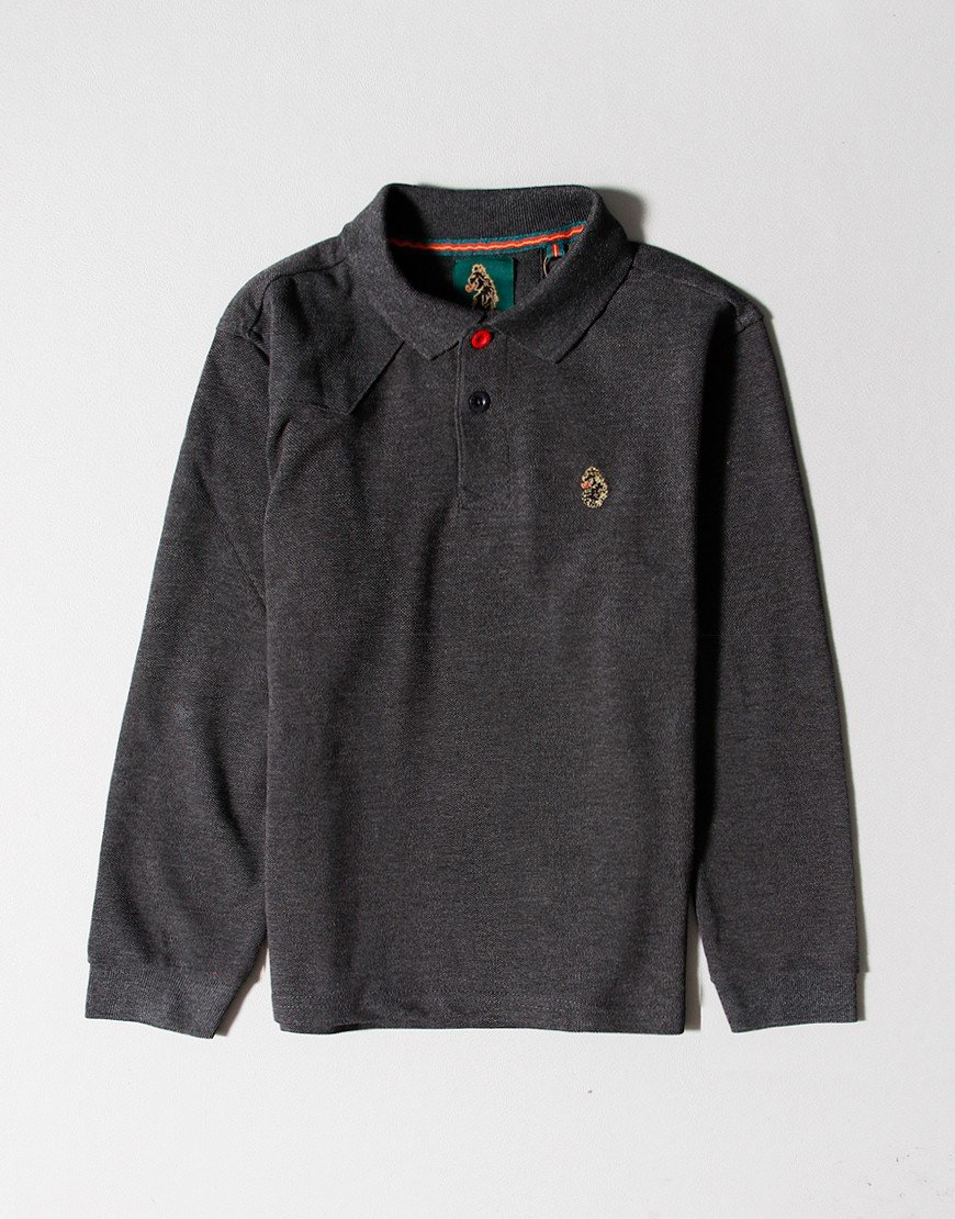Luke 1977 Kids Williams Long Sleeve Polo Shirt Charcoal