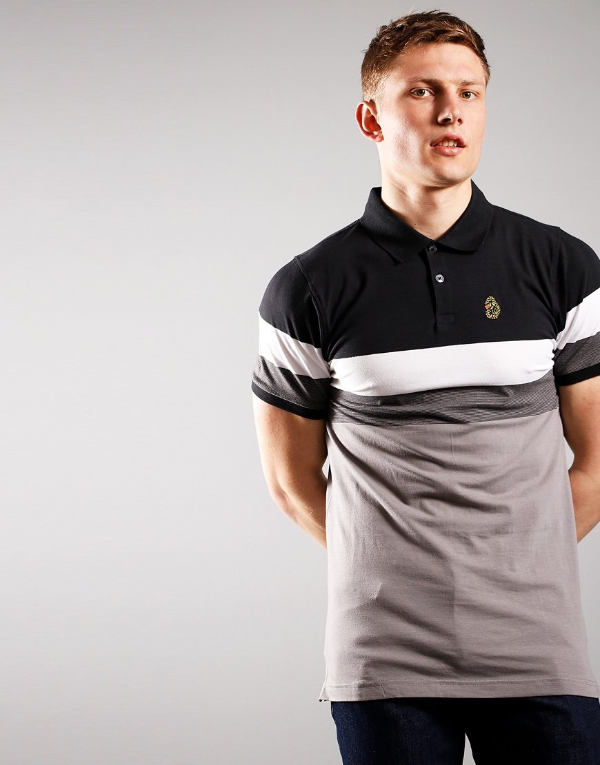 Luke 1977 Shuffle Polo Shirt Black White Mid Grey