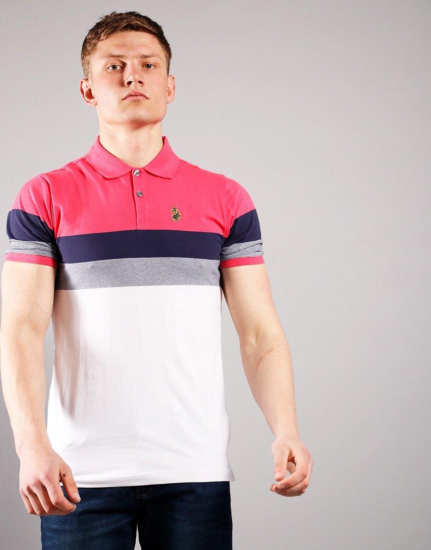 Luke 1977 Shuffle Polo Shirt Lux Pink Evening Blue