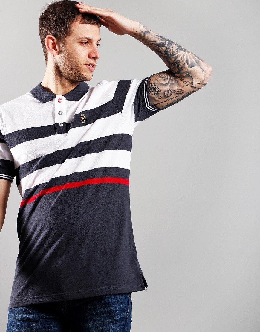 Luke 1977 Stripe New Mead Polo Shirt Charcoal Mix