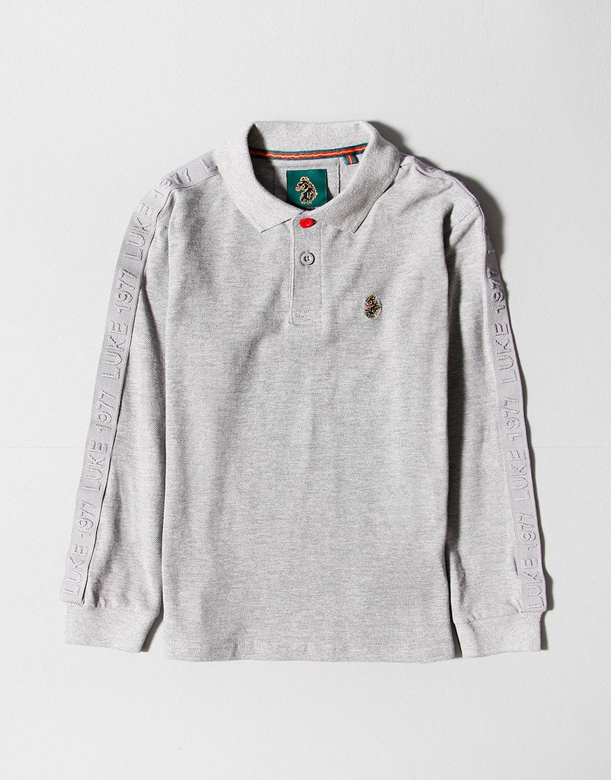 Luke 1977 Kids Willtape Long Sleeve Polo Shirt Medium Grey