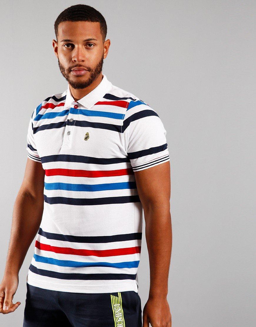 Luke 1977 Striped New Mead Polo Shirt White Mix