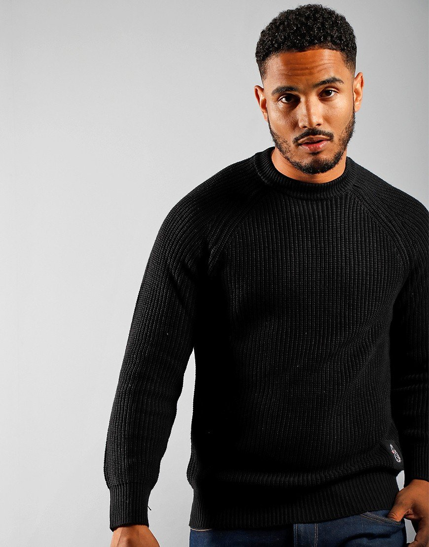 Luke 1977 Plated Crew Neck Ribbed Knitted Jumper Solid Black