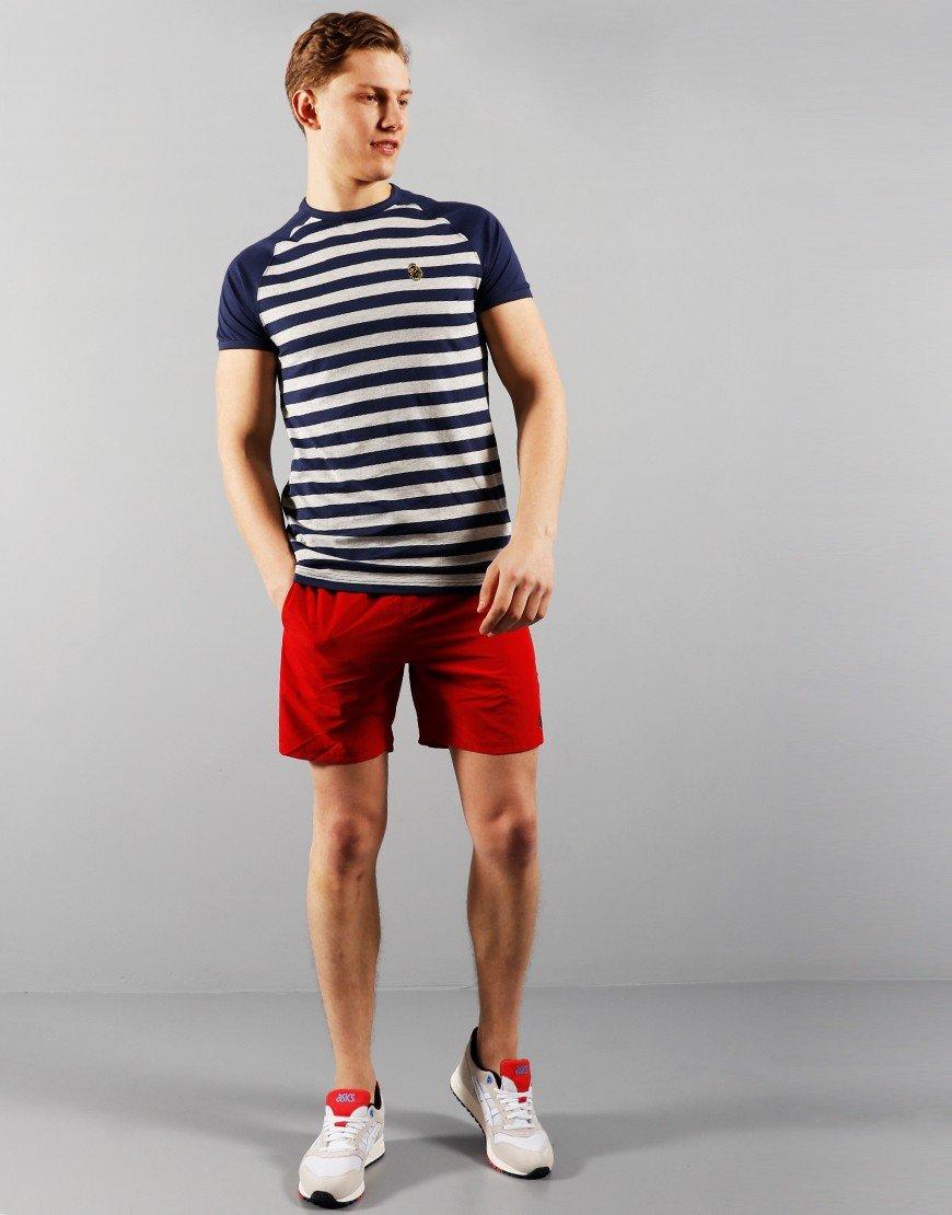 Luke 1977 Raglan Stripe T-Shirt Navy/ Light grey