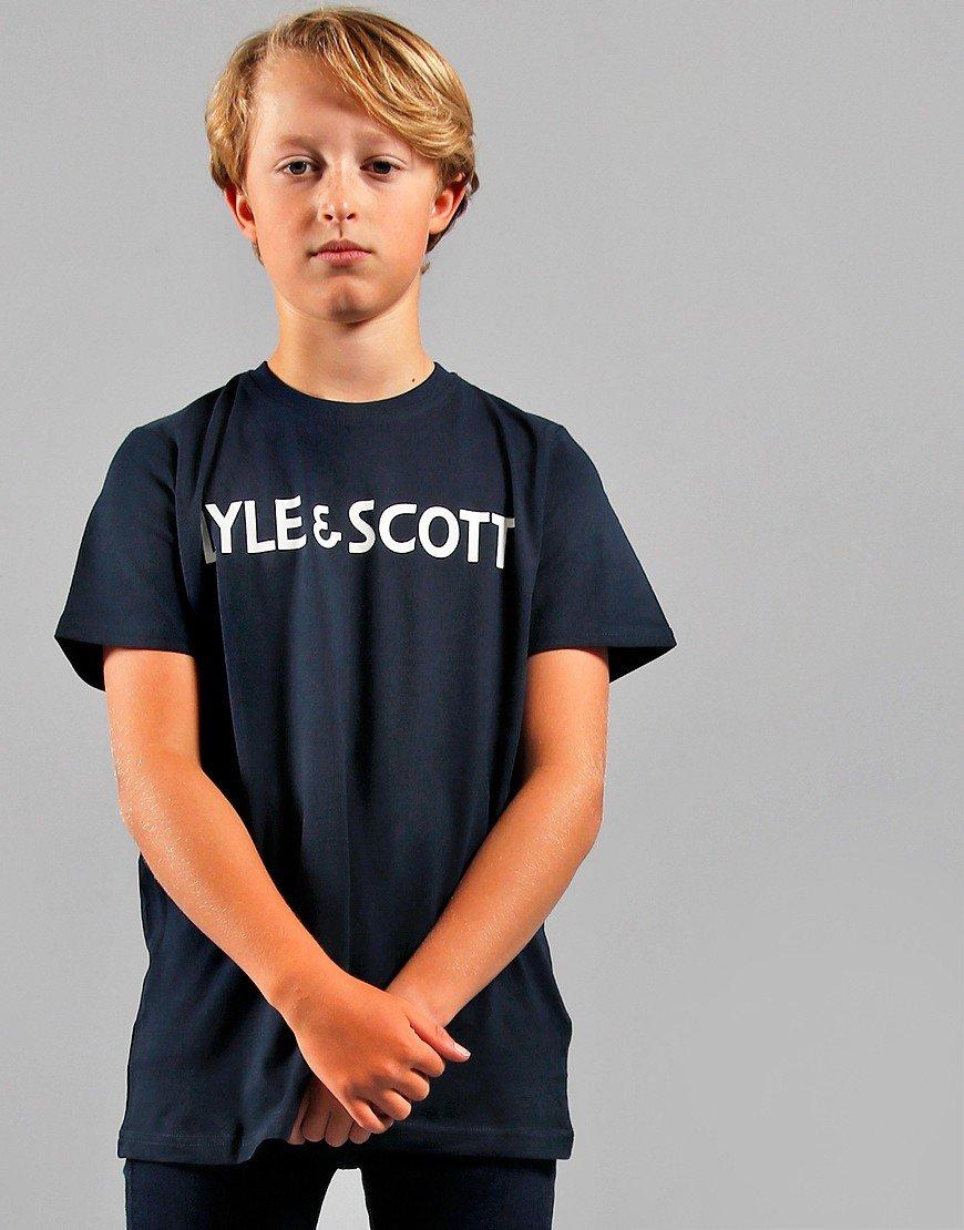 Lyle & Scott Junior Text T-Shirt Navy