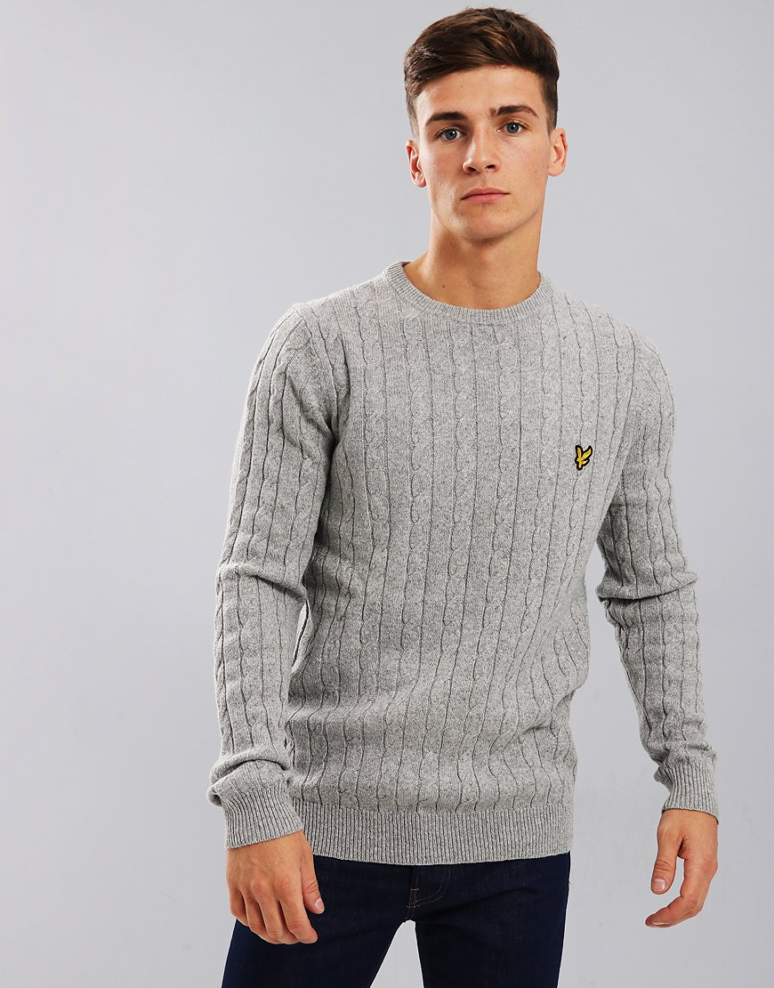 Lyle & Scott Cable Knit Crew Neck Jumper Light Grey Marl