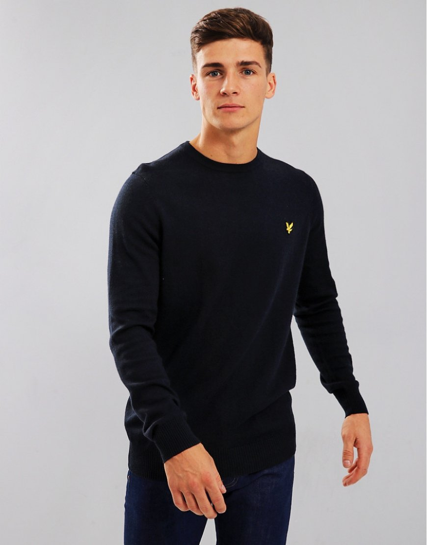 Lyle & Scott Merino Crew Neck Knitted Jumper Dark Navy